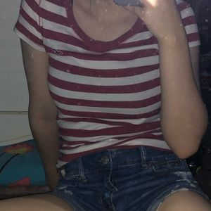hollister red striped tshirt